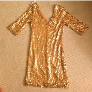 GOLD SEQUIN MINI PARTY DRESS SZ M W/SLEEVES